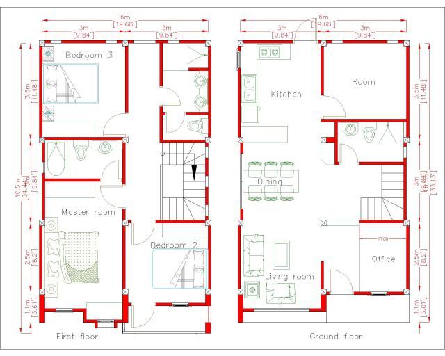 House Plan Drawing 6x10 Meters 20x33 Feet 2 Beds Layout floor plan