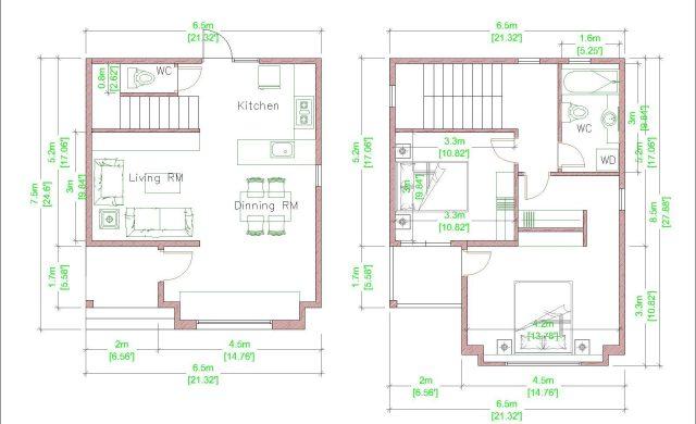 Modern House Plans 6.5x7.5m 21x25f 2 Beds floor plan