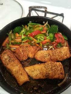 Salmon and veggies.