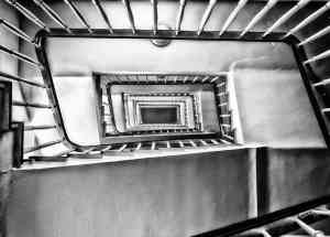 Looking down the winding stairwell.