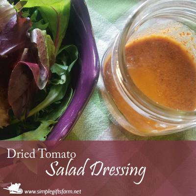 yummy dried tomato salad dressing with fresh greens