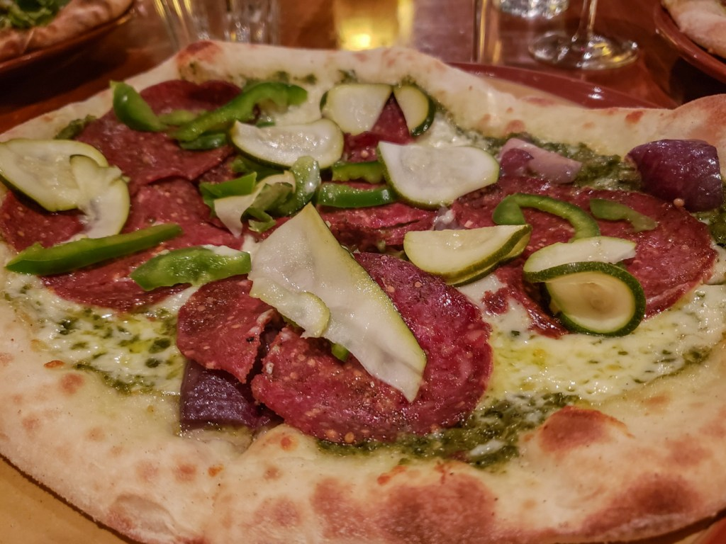 Beef Salami Pizza at Café Parvis