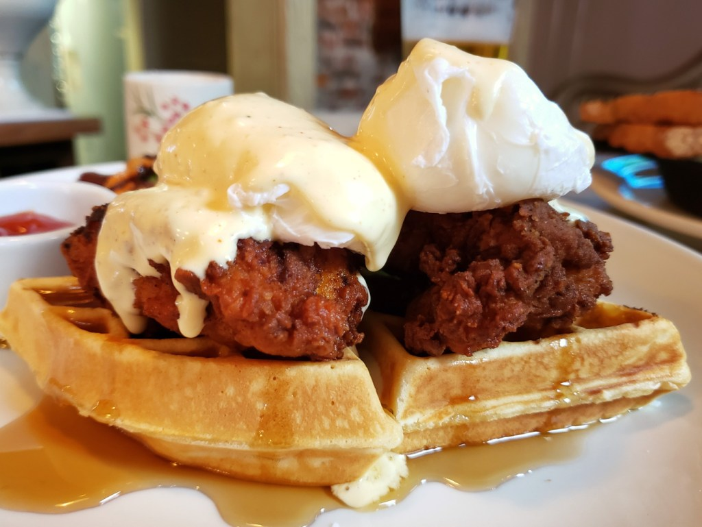 Chicken and Waffle Benedict at Rex1516