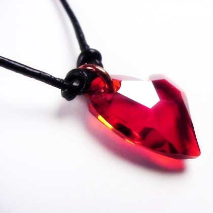 Small red heart crystal pendant necklace tiny heart magma crystal heart necklacet aloadofball Image collections