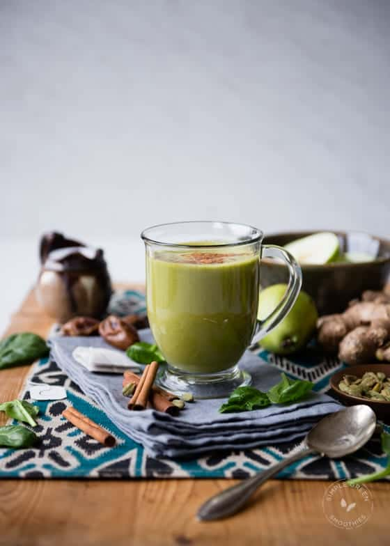 Warm Chai Tea Smoothie made with spinach