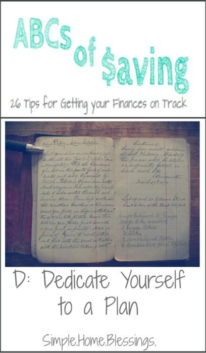 ABCs of Saving - Dedicate Yourself to a Plan