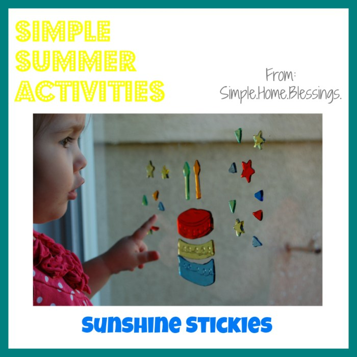 Simple Summer Activities Sunshine Stickies