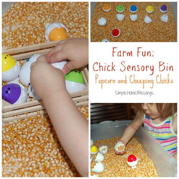 Chick Sensory Bin - Popcorn and Cheeping Chicks