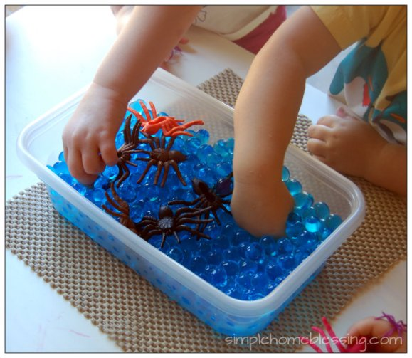spider and spider eggs sensory bin