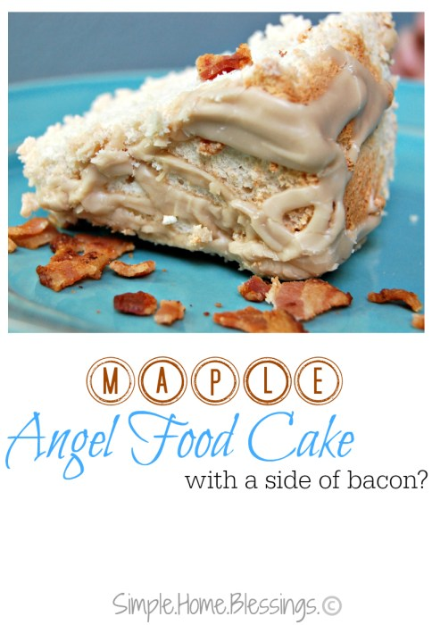 Maple Angel Food Cake with Maple Icing (and bacon)