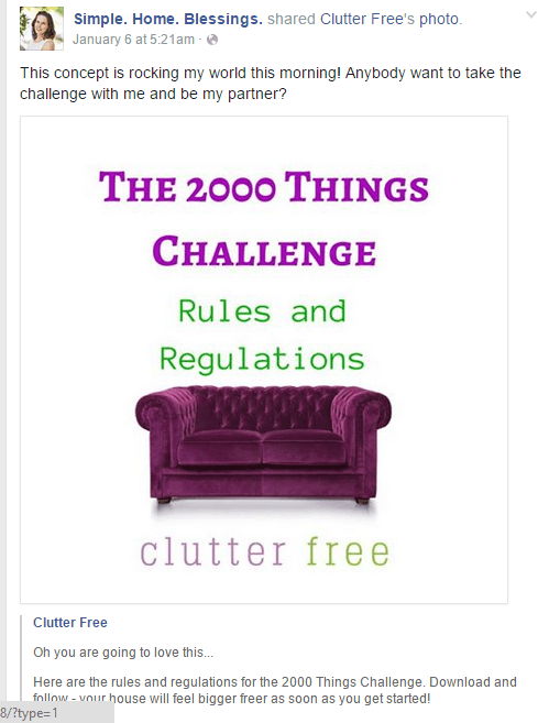 clutter free 2000 things challenge