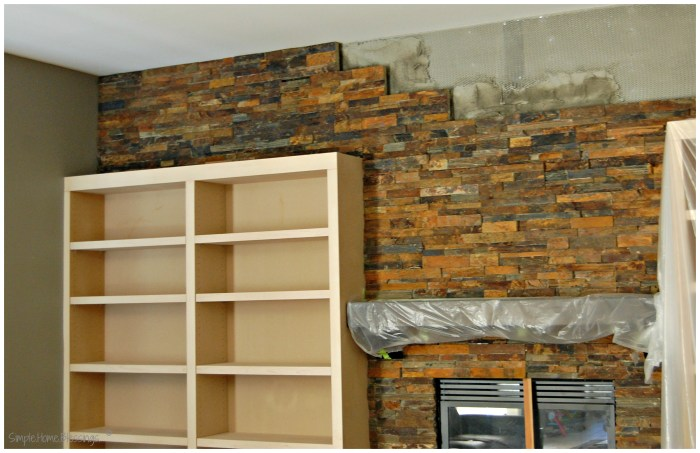 living room remodel, stone veneer