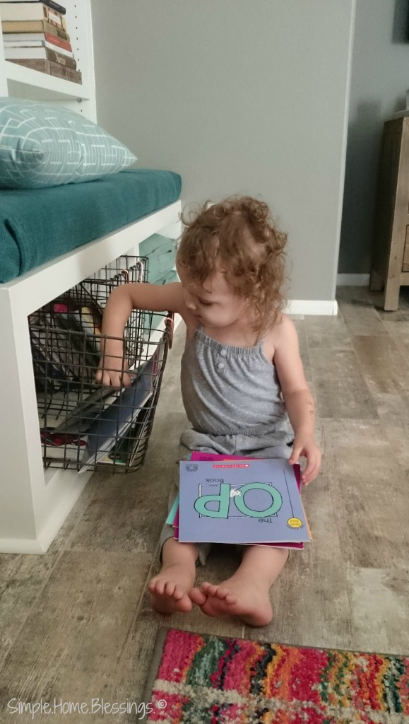 Living Room Organization so simple that toddlers can maintain it