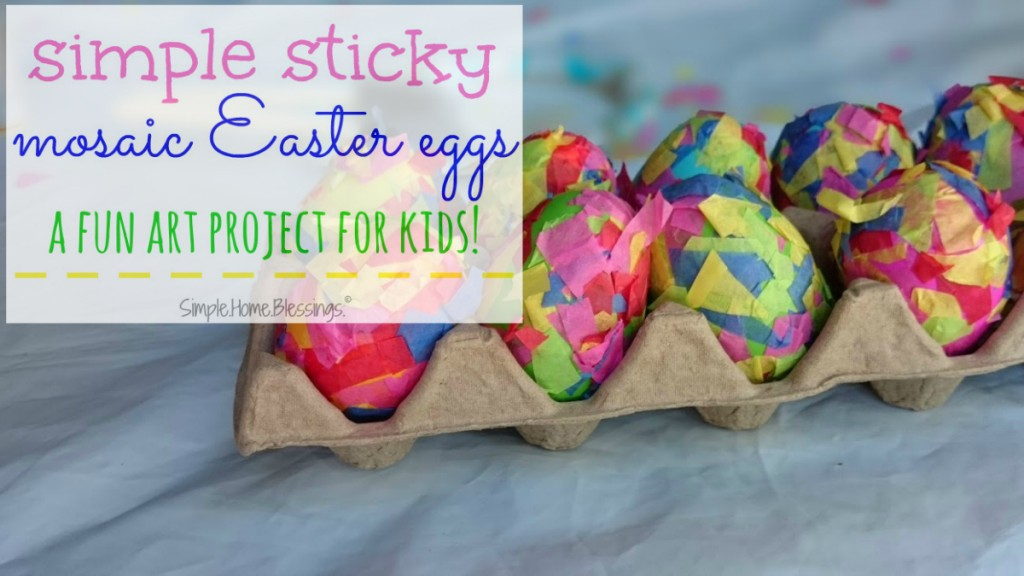 simple sticky mosaic Easter egg art project for kids
