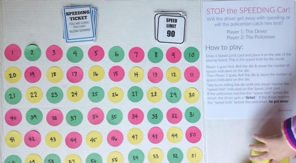 stop the speeding car preschool game - part of a preschool unit on Police Men