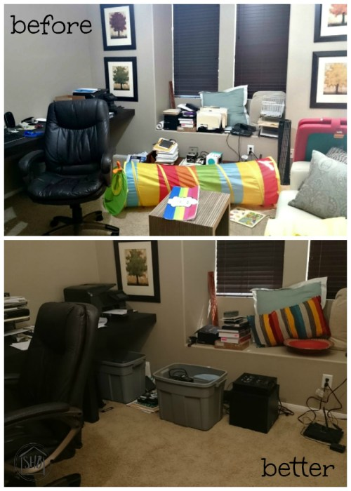 Decluttering Step by Step, progress report on home office