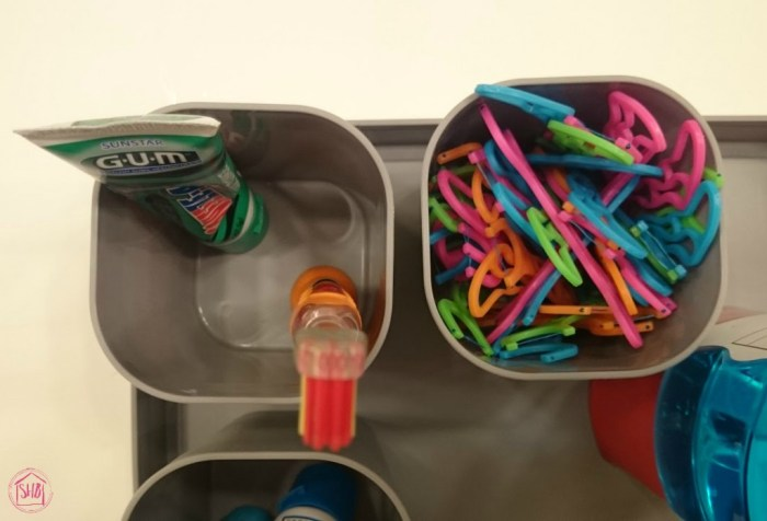 Organizing oral Hygiene supplies for kids, encouraging teeth-brushing habits