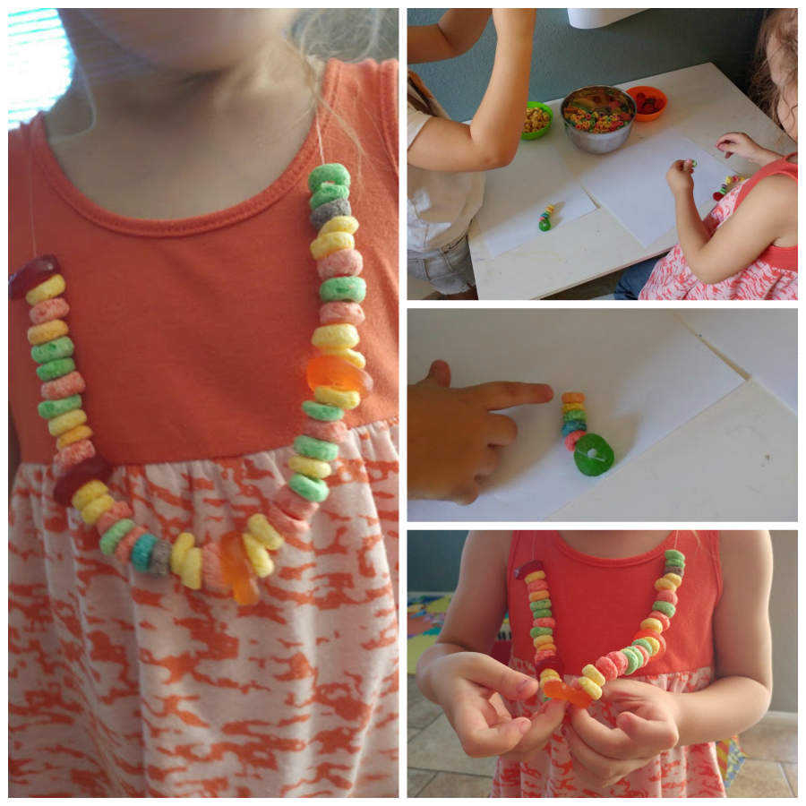 making candy necklaces for a 1st trip to the movies - one of the great tips for going to the movie with kids