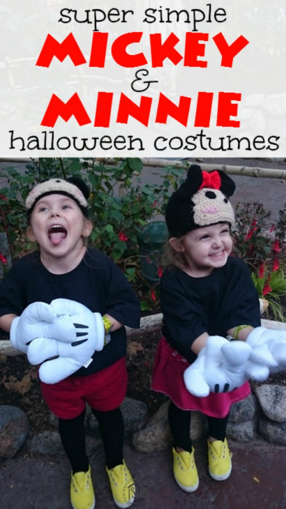 super simple Tsum tsum Mickey & Minnie Mouse costumes for halloween