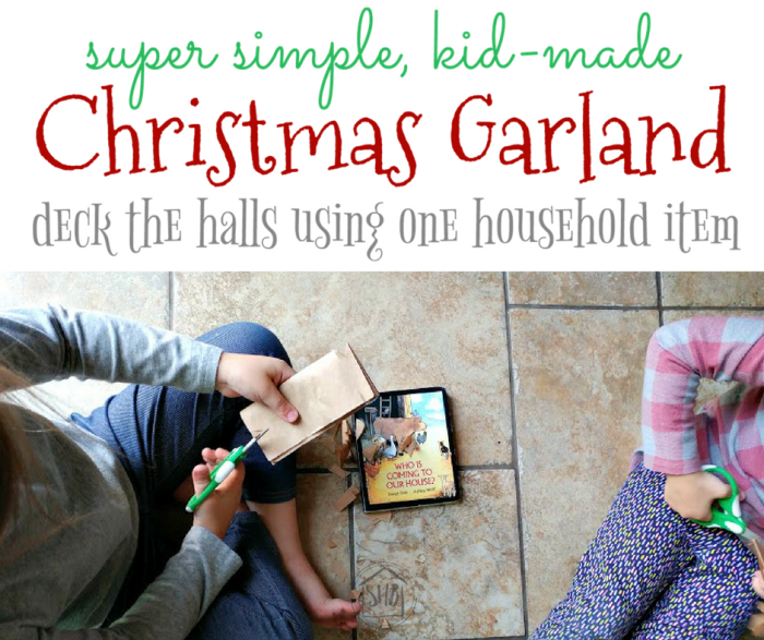 A super simple Christmas garland for kids to make. Use only one item from around the house.