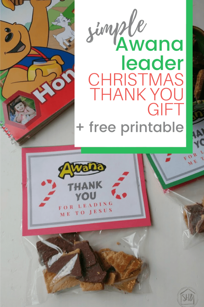 simple awana leader thank you gift with free printable gift bag topper and recipe for Christmas treats