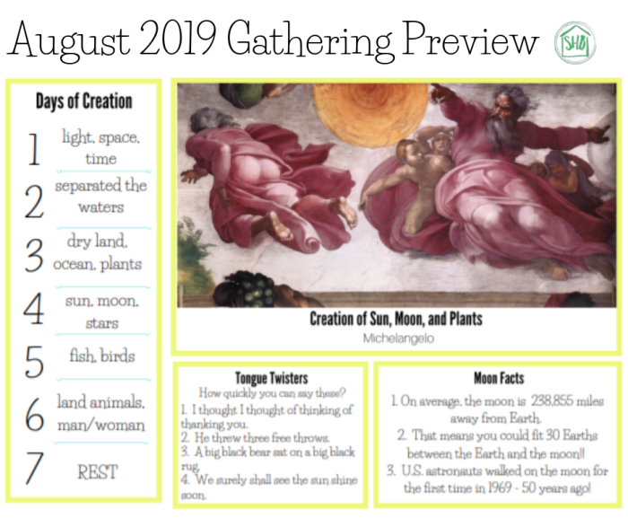 Preview of August 2019 Gathering placemats for use in home to add riches to your family's days.  The placemats include art, hymns, poetry, memory work, fun facts, and simply silly fun.