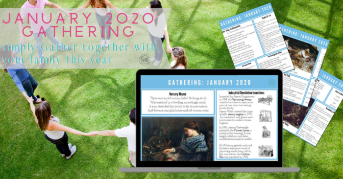 """simply gather together with your family for """"morning time"""" before the day begins.  ideas and extensions for using the January 2020 Gathering Placemats in your home or homeschool"""