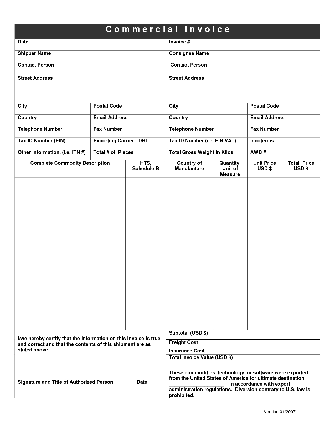 Dhl Invoice Form Invoice Template Ideas