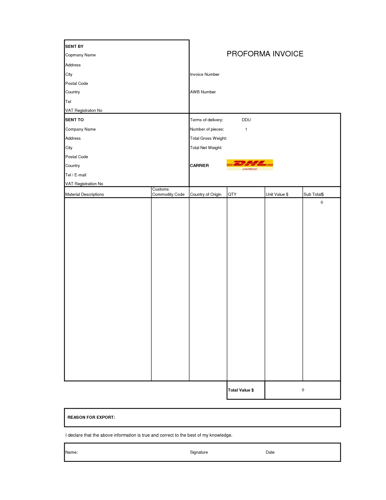 Dhl Invoice Form Invoice Template Ideas