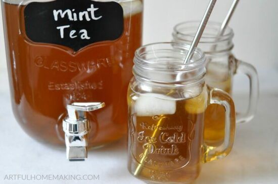 Homestead Blog Hop Feature - making-mint-tea-with-fresh-mint-leaves