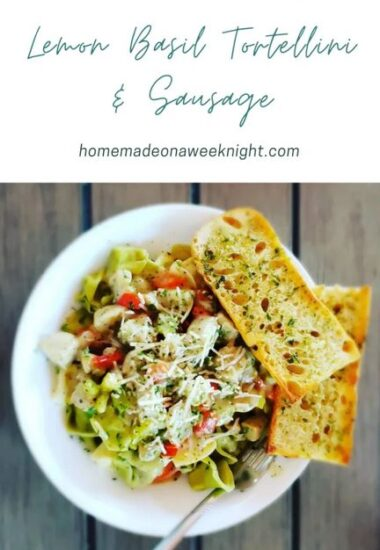 Homestead Blog Hop Feature - Lemon Basil Tortillini and Sausage