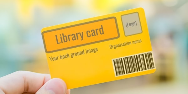 Library cards containing name and logo of your organisation available from Simple Little Library System