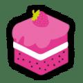 square pink cake logo