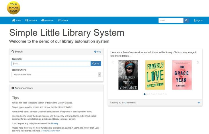 Screenshot of the library automation software