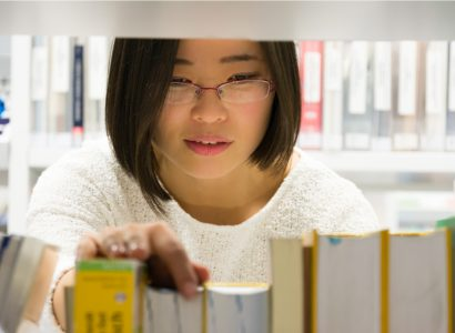 Scientist in library