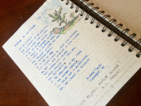 Photograph of Richard Taylor's artistic entry in the Refugio de Los Angeles guestbook