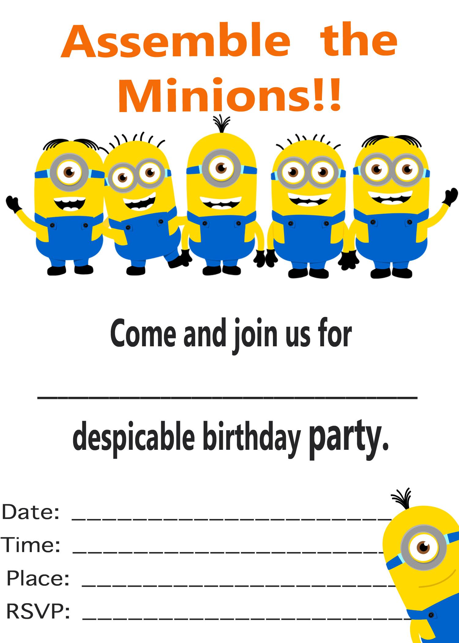 despicable me party invitation 1