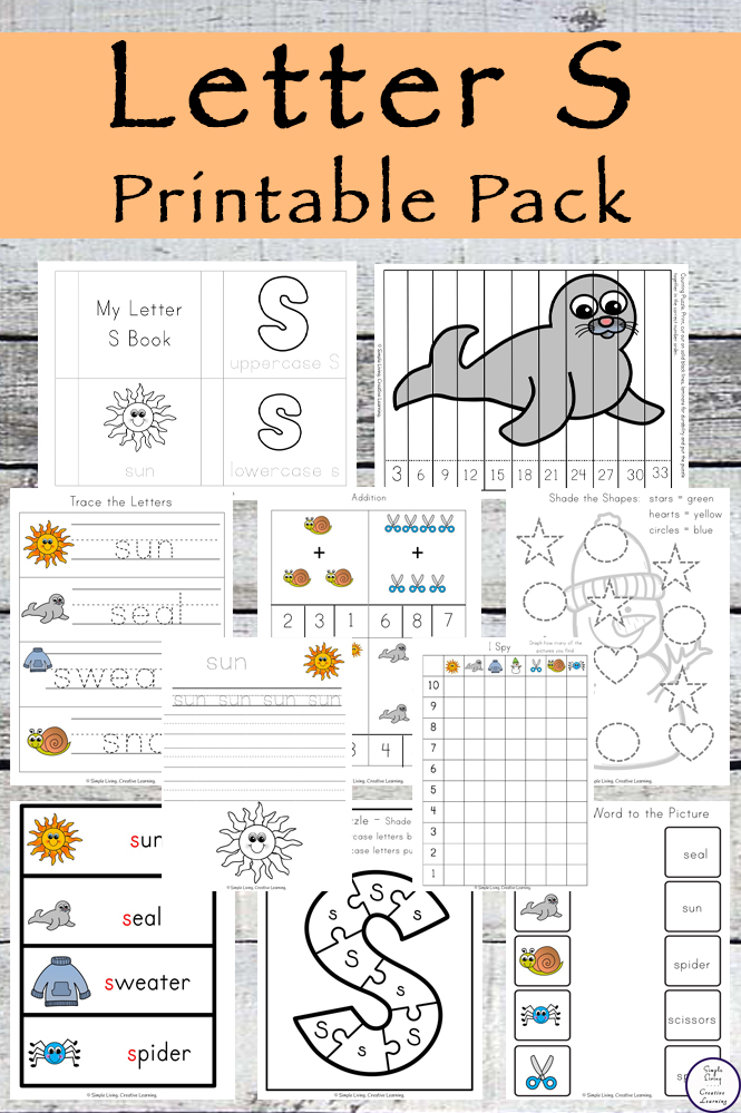 Letter Of The Week Letter S Printable Pack Simple Living Creative Learning