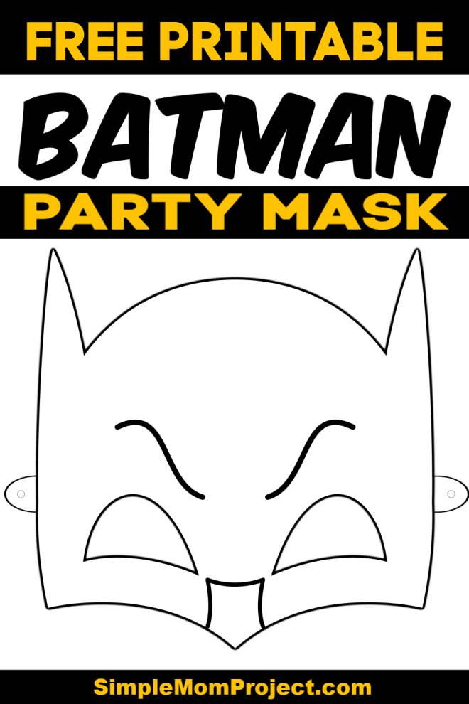 Free Printable Batman Party Mask Coloring Page