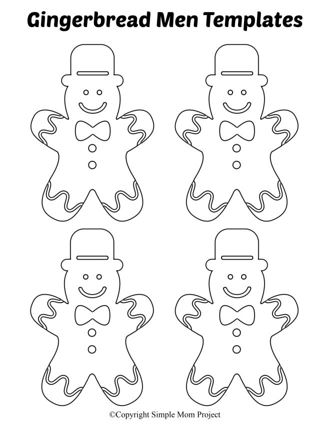 Free Printable Small Gingerbread Men Templates with Hat