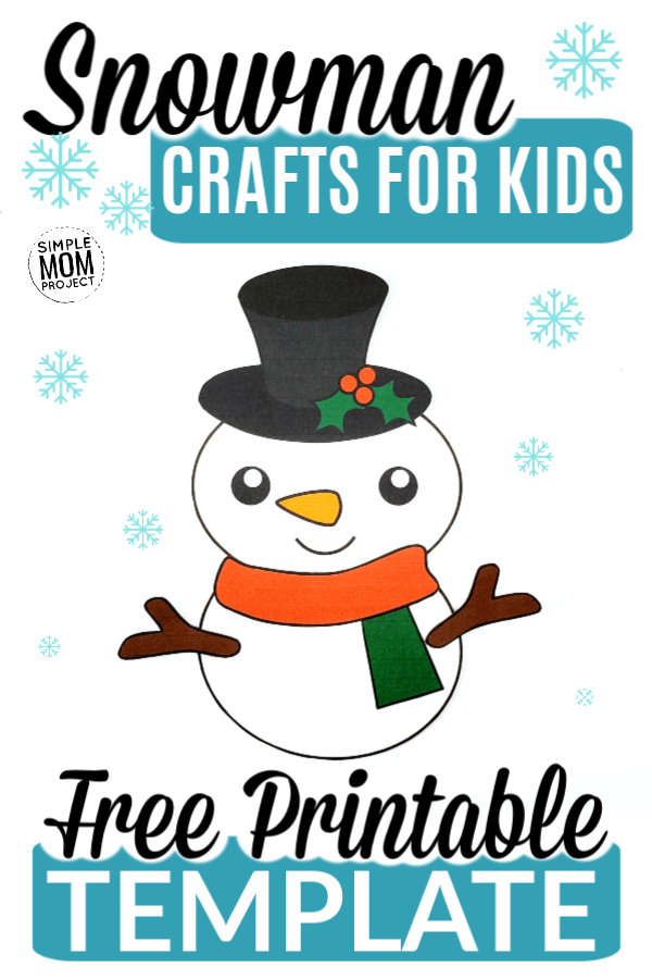 Free Printable Snowman Paper Craft for Coloring Page with Template Cut Out