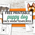 Click now to print any of our 8 paper puppy dog mask templates. There's colored dog face masks ready to cutout and play or turn out black and white dog mask outlines into a diy coloring page activity. You'll love to watch your kids masquerade around the house or use them as a quick Halloween mask. Either way our printable puppy dog face masks will bring a smile to your face! #dogmasks #dogfacemasks #dogcrafts #printable #coloringpages #SimpleMomProject