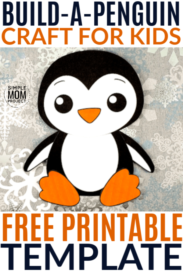 Free Printable winter Build a penguin craft for kids, preschoolers and toddlers