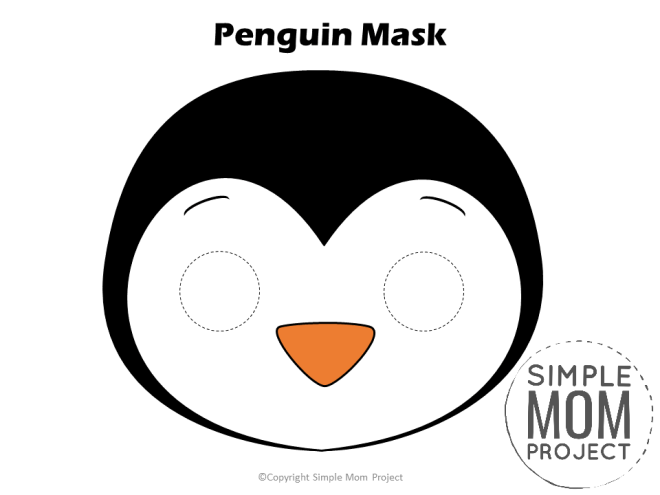 Free Printable Penguin Mask Template for kids, preschoolers and toddlers