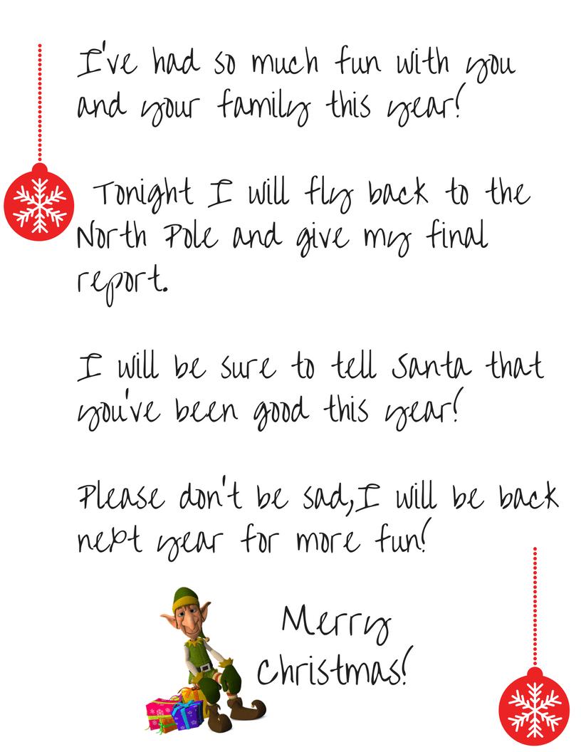 graphic regarding Printable Elf called Elf upon the Shelf Goodbye - Cost-free Printable Letter - Straightforward