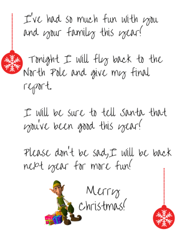It's just an image of Revered Elf on the Shelf Goodbye Letter Free Printable