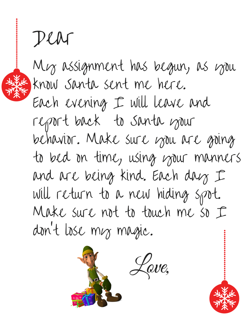 photo about Elf on the Shelf Letter Printable called Free of charge Elf Upon The Shelf Welcome Letter Printable - Easy Mother
