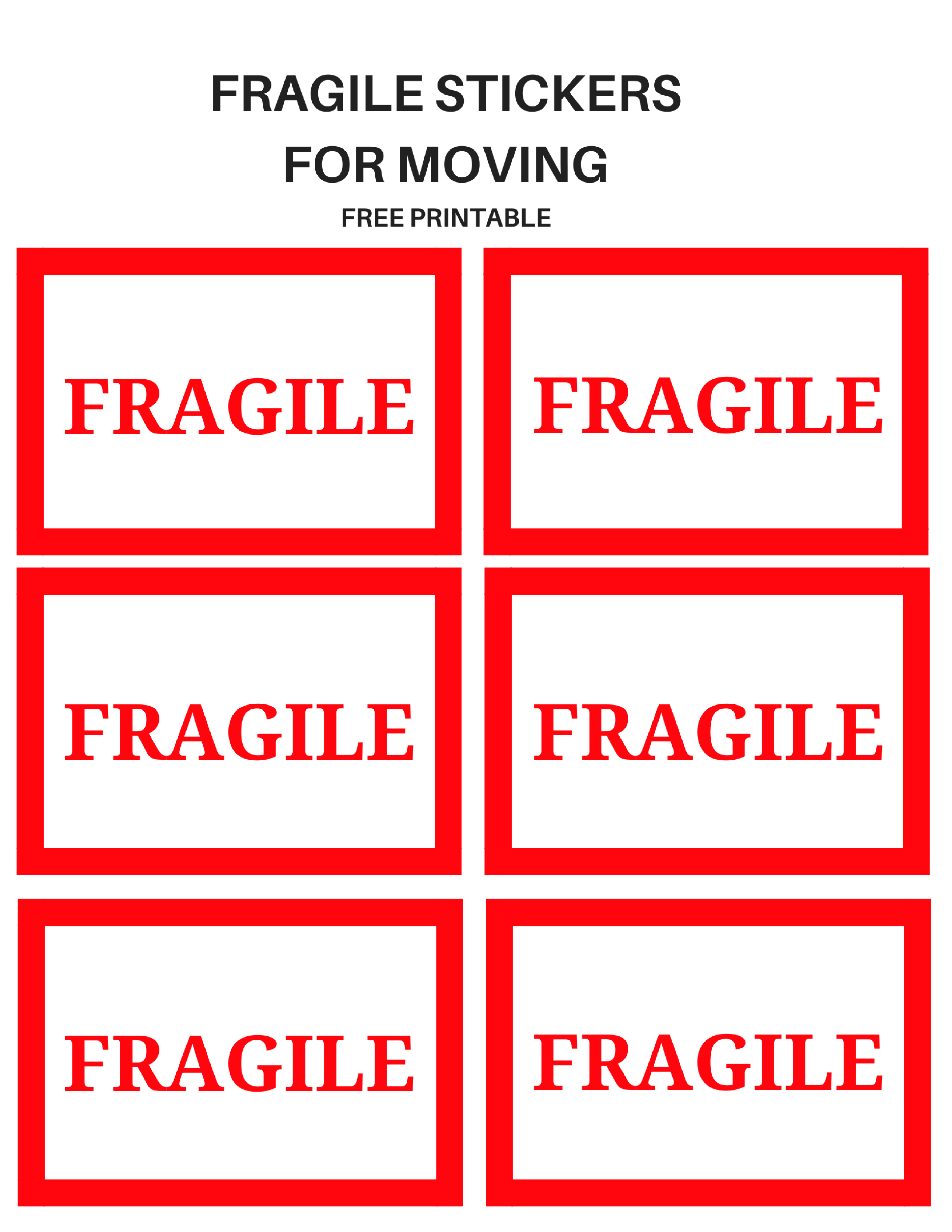 image regarding Printable Fragile Labels titled Relocating Labels: Absolutely free Printable - Uncomplicated Mother Analyze
