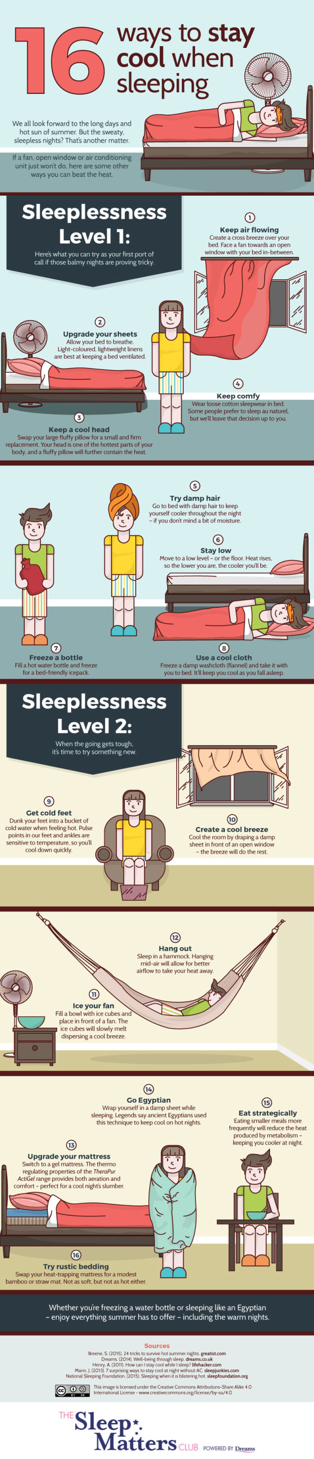 Sleep Matters Club - 16 Ways To Stay Cool When Sleeping Infographic