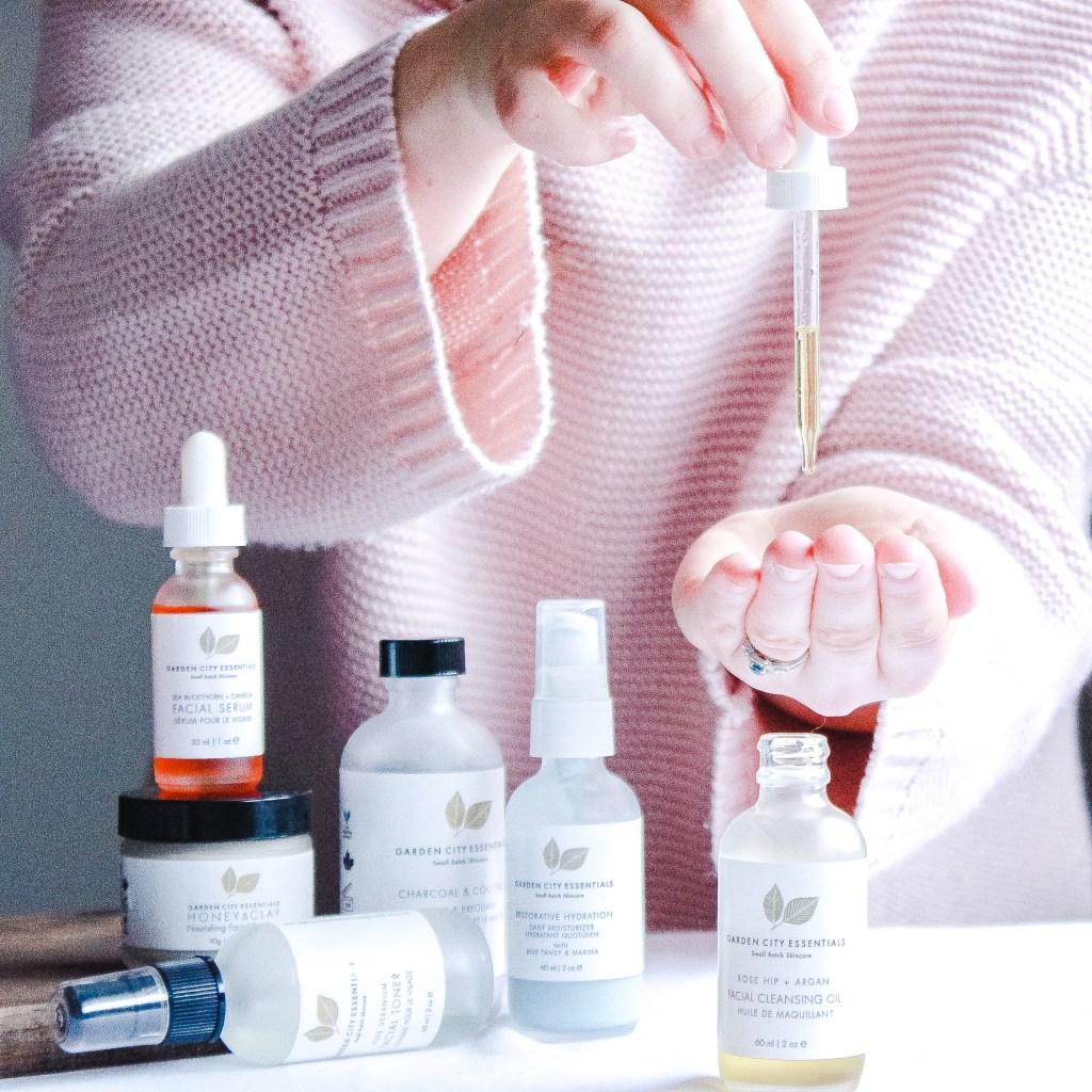 women with garden city essentials bottles